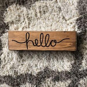 "Handmade Wooden ""Hello"" sign"
